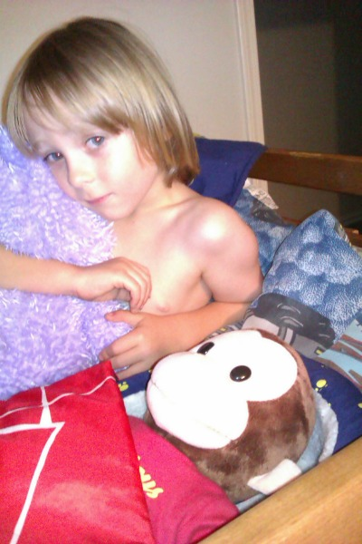 "I swear I didn't pose him. He insists on sleeping shirtless, and he's always cutest at bedtime. The rabbit is called ""Nobunny"""